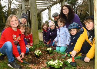 Little Friends plant primroses in Holgate's West Bank Park with York's Ultra Fibre Optic from TalkTalk